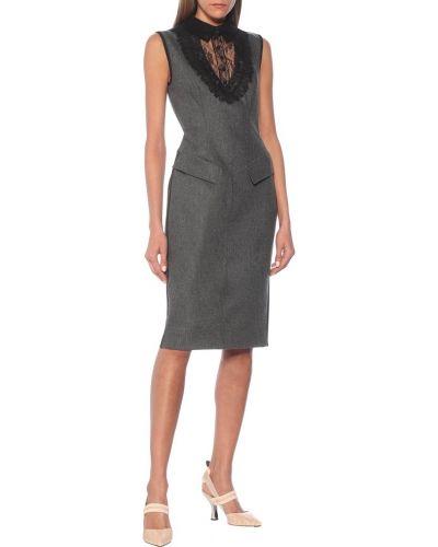 Wełniany ażurowy sukienka midi na sznurowadłach przycięte Fendi