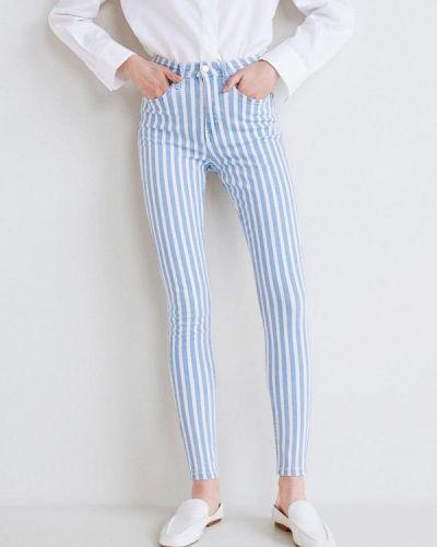 Голубые брюки с завышенной талией Mango