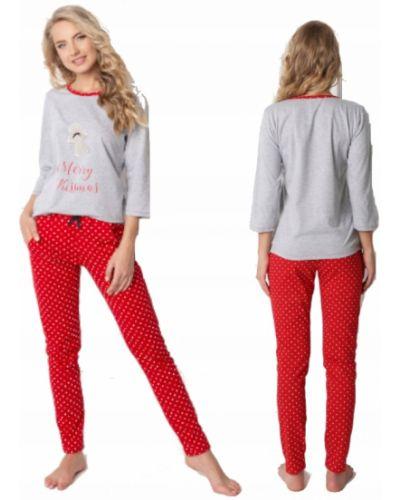 Czerwona ciepła piżama bawełniana Aruelle