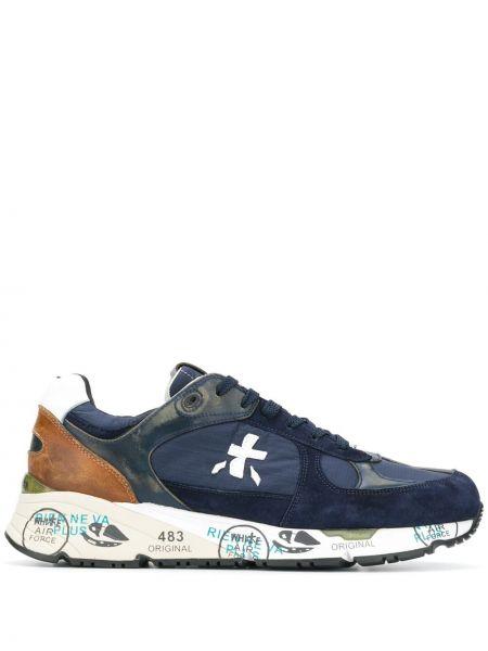 Niebieskie sneakersy skorzane sznurowane Premiata