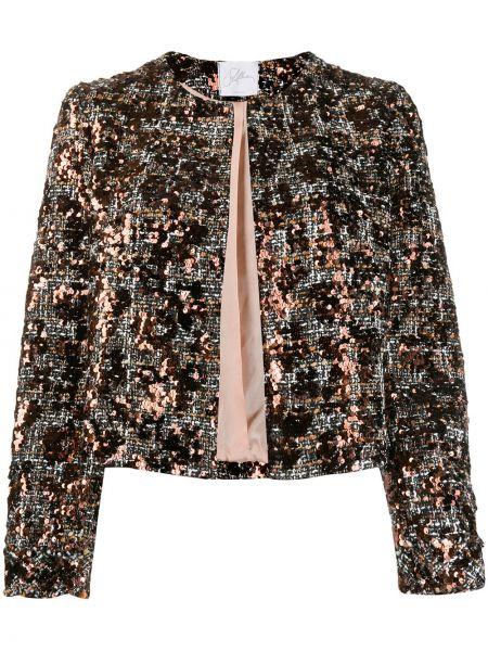 Czarna długa kurtka z haftem z długimi rękawami So Allure