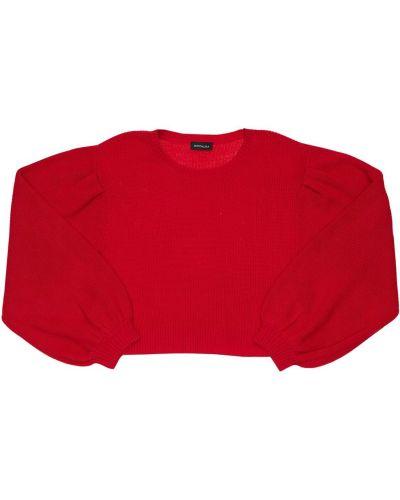 Шерстяной красный свитер с аппликациями свободного кроя Monnalisa