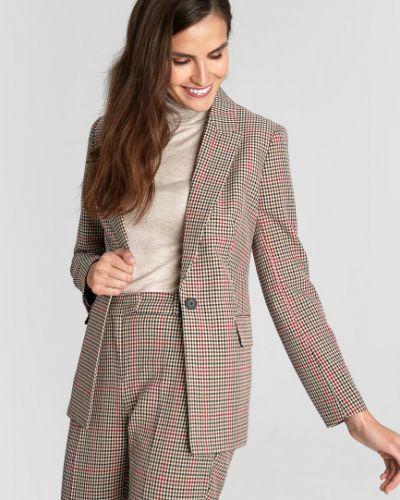 С рукавами бежевый приталенный пиджак с воротником Ostin