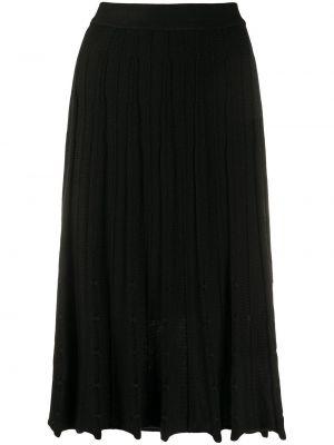 Черная акриловая юбка миди в рубчик Pierre Cardin Pre-owned