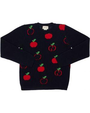 Sweter wełniany z kołnierzem Gucci