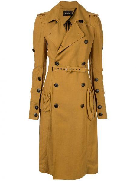 Желтое приталенное пальто с воротником с накладными карманами Kitx