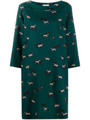 Прямое с рукавами зеленое платье миди Altea