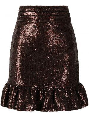 Brązowa spódnica mini z wysokim stanem Brognano