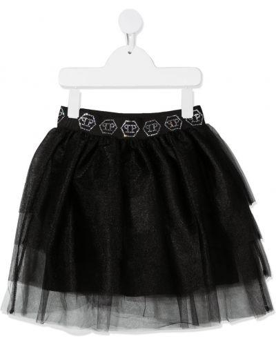 Черная пышная юбка мини с поясом Philipp Plein