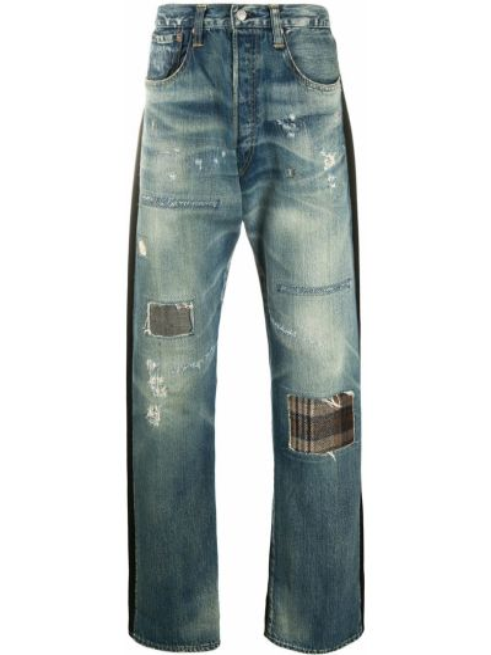 Синие свободные широкие джинсы с нашивками свободного кроя Junya Watanabe Man