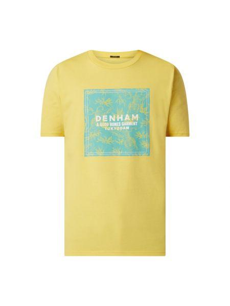 Żółty t-shirt bawełniany z printem Denham
