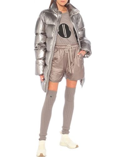 Pikowana srebro puchaty pikowana płaszcz Rick Owens