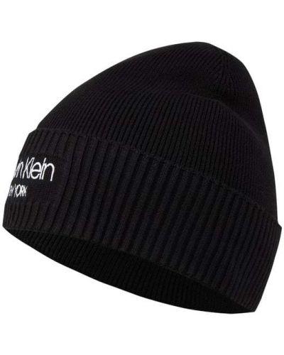 Prążkowana czarna czapka beanie bawełniana Ck Calvin Klein