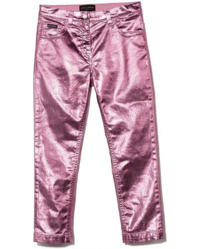 Różowe mom jeans bawełniane Dolce & Gabbana Kids