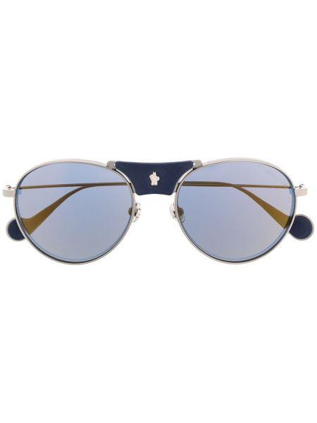 Прямые солнцезащитные очки металлические хаки Moncler Eyewear