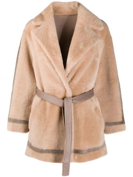 Коричневое кожаное длинное пальто двустороннее Blancha