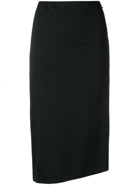 Шерстяная черная асимметричная юбка карандаш с рукавом 3/4 Poiret