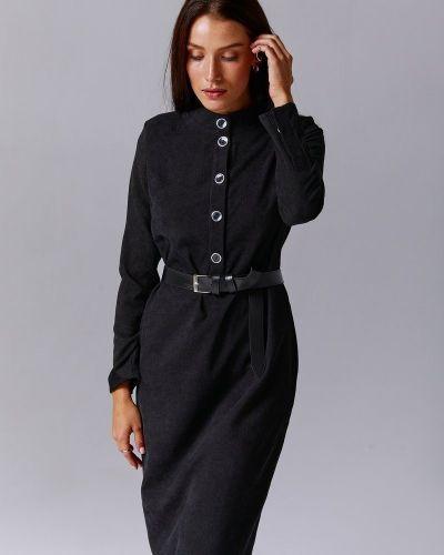 Платье миди вельветовое - черное Gepur