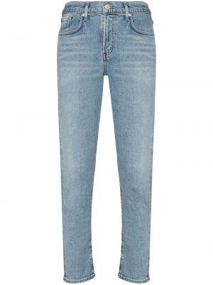 Prosto bawełna niebieski jeansy o prostym kroju z kieszeniami Agolde