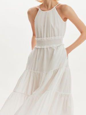 Белое платье макси с оборками в цветочный принт Love Republic