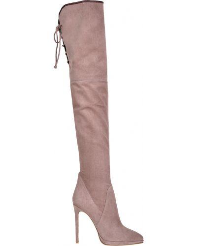 Розовые кожаные ботфорты Genuin Vivier