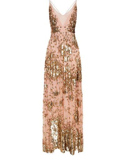 Коктейльное платье розовое на тонких бретелях Valentino