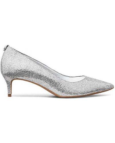 Текстильные серебряные туфли-лодочки на каблуке Michael Michael Kors