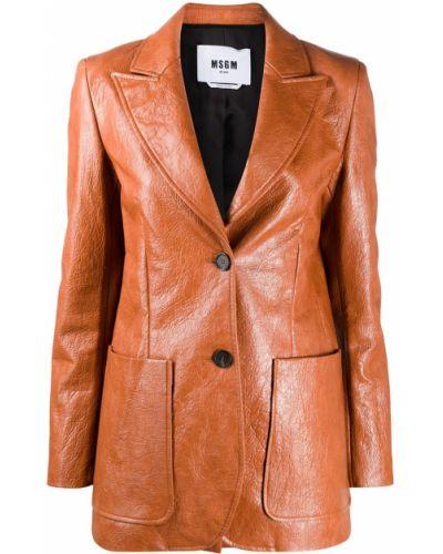 Однобортный коричневый удлиненный пиджак на пуговицах Msgm