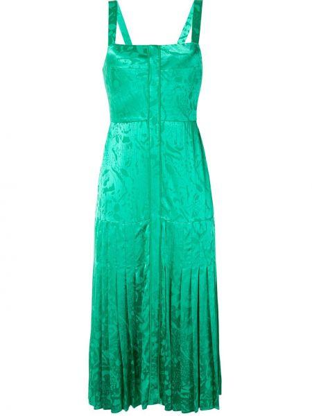 Плиссированное платье миди со складками на молнии без рукавов Alexis