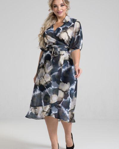 С рукавами платье с запахом с поясом марита