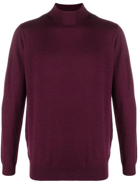 Фиолетовый шерстяной вязаный длинный свитер Karl Lagerfeld