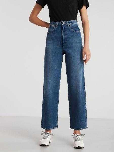 Прямые синие широкие джинсы с высокой посадкой Wrangler