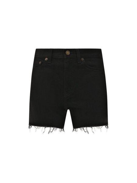 Джинсовые шорты черные с бахромой Saint Laurent