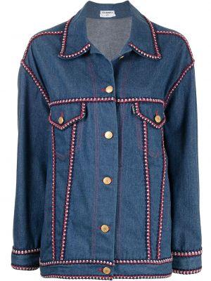 Золотистая синяя джинсовая куртка с воротником Chanel Pre-owned