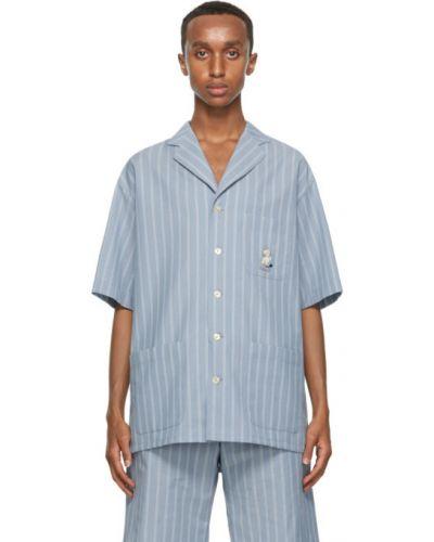 Niebieski bawełna koszula krótkie z krótkim rękawem z kieszeniami z paskami Gucci