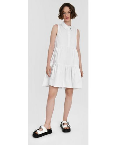 Шелковое белое платье А-силуэта свободного кроя Ostin