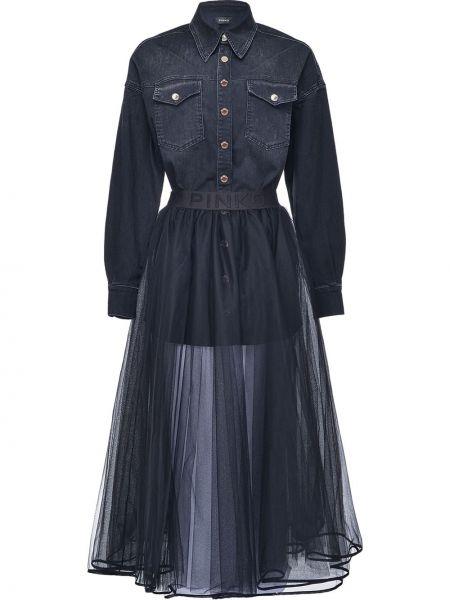 Sukienka długa rozkloszowana tiulowa z długimi rękawami Pinko