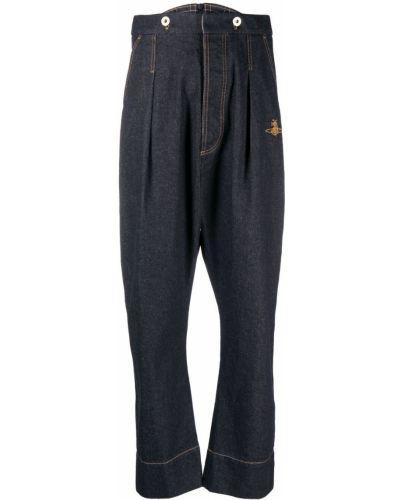 Синие джинсы с высокой посадкой с вышивкой Vivienne Westwood