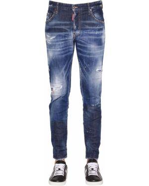 Синие джинсы с карманами с заплатками Dsquared2