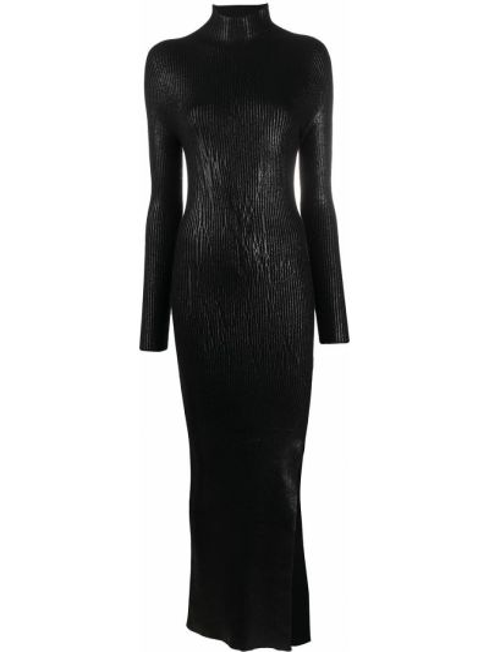 Черное платье миди в рубчик с воротником из вискозы Andrea Ya'aqov