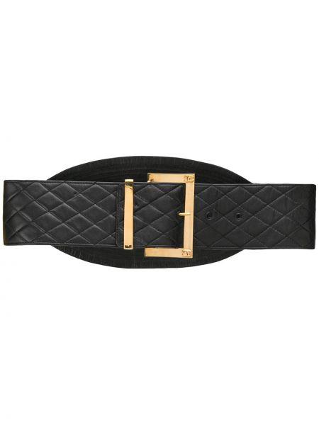 Стеганый кожаный черный ремень с декоративной отделкой Chanel Pre-owned