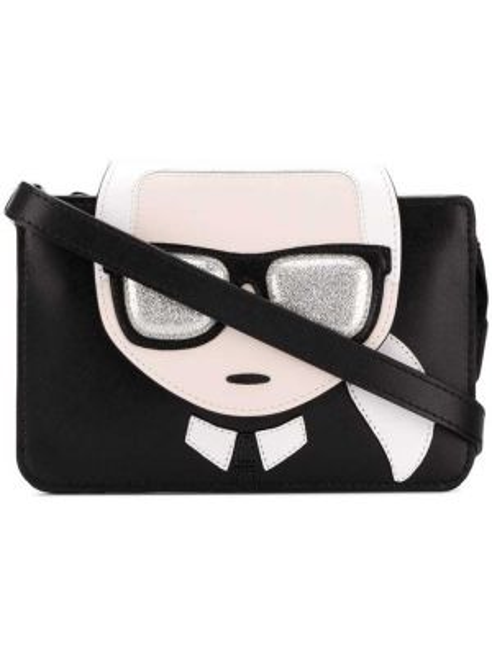 Skórzana torebka mini z nadrukiem Karl Lagerfeld