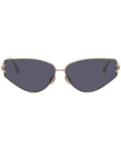 Кожаные солнцезащитные очки прямоугольные золотые Dior