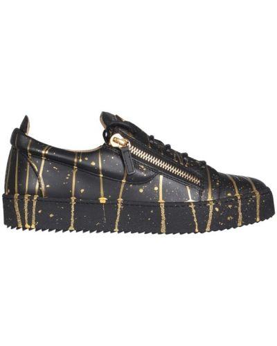 Czarne sneakersy skorzane płaska podeszwa Giuseppe Zanotti