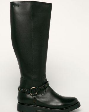 Черные ботинки на каблуке круглые S.oliver