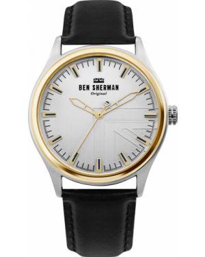 Часы водонепроницаемые с кожаным ремешком серебряный Ben Sherman