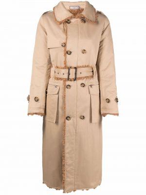 Beżowy długi płaszcz wełniany Urbancode