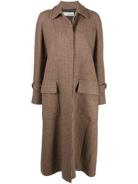 Шерстяное длинное пальто с воротником с манжетами на пуговицах Lardini