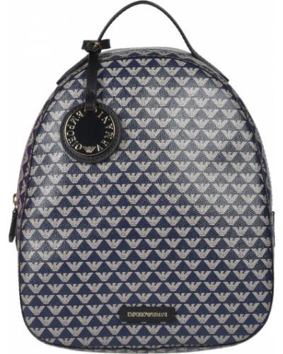 Кожаный рюкзак - синий Emporio Armani