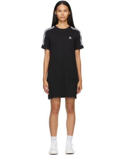 Трикотажное белое платье в полоску Adidas Originals